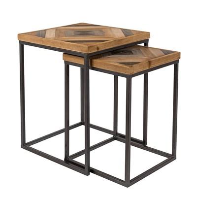 joy set of 2 side tables in herringbone design
