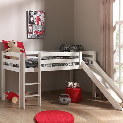 Pino Kids Mid Sleeper With Slide In White Kids Beds Cuckooland