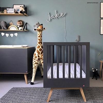 vox nature baby scandi cot in dark grey oak
