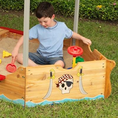 Kidkraft Childrens Pirate Boat Sand Pit & Play Bench - Kid