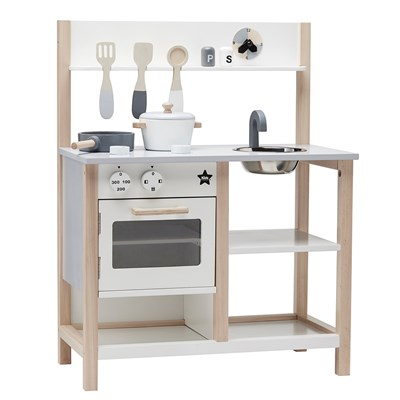Childrens Wooden Toy Kitchen Set In White And Natural