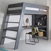 Julien Kids Loft Bed & Desk In Brushed Grey Pine - Woood ...
