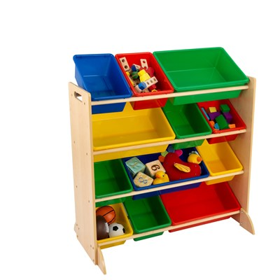 Kids Primary Storage Bin Unit - Boys Bedroom Furniture