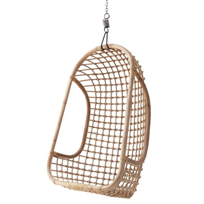 Indoor Rattan Hanging Egg Chair In Natural Finish  Hk