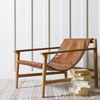 Sling Recliner Armchair In Brown Leather & Wood