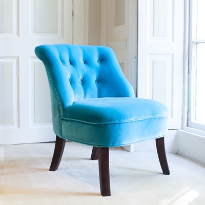 Velvet Occasional Tub Chair In Turquoise  Chairs  Sofas