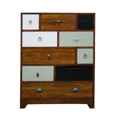 British Vintage Chest Of 10 Drawers In English Cherry Finish - Bluebone Cuckooland