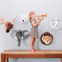 Kids Elephant Plush Animal Head Wall Decor