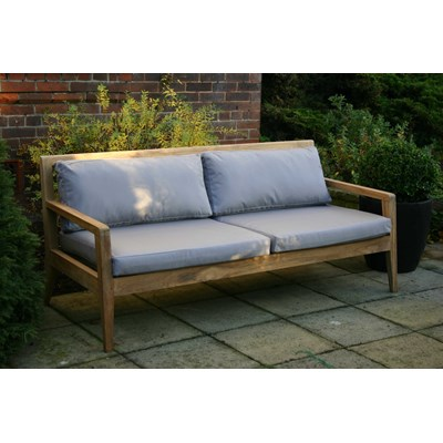 Menton Luxury Teak Sofa Bench With Grey Cushions - Pr Home