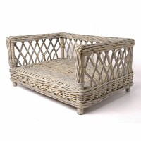 Raised Rattan Dog Bed With Dotty Taupe Mattress - Dog ...
