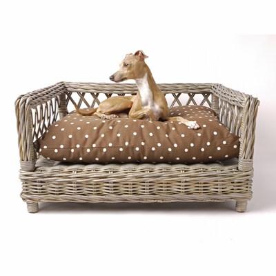 Raised Rattan Dog Bed With Dotty Chocolate Mattress