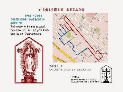 recorrido de la procesion de la virgen de guadalpue de El Carmelo, Quinta Samayoa, zona 7 de la Ciudad
