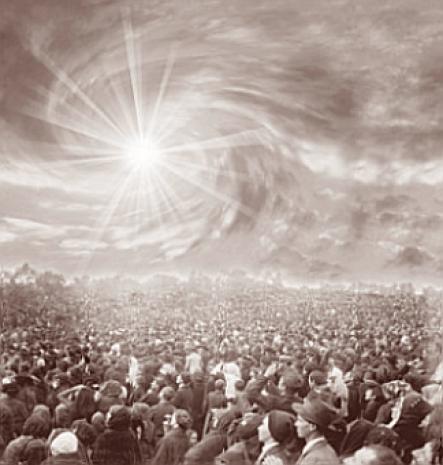 Ilustración del cómo se creyó que ocurrió el Baile del Sol en la Sexta Aparicion de la virgen de Fatima