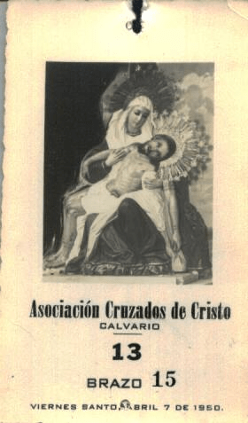 Turno de 1950 para llevar en hombros a Nuestra Señora de la Piedad