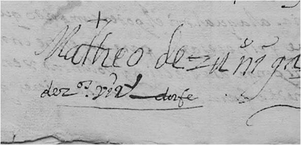 Firma de Mateo de Zúniga de Jesús Nazareno de la Merced