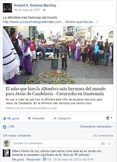 La nota que conmovió a Guatemala sobre el niño que hizo su alfombra