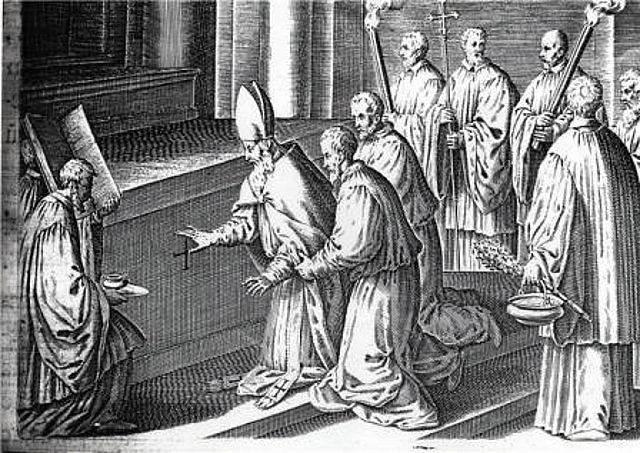 imagen 19, se crisman el frente y las junturas del altar.