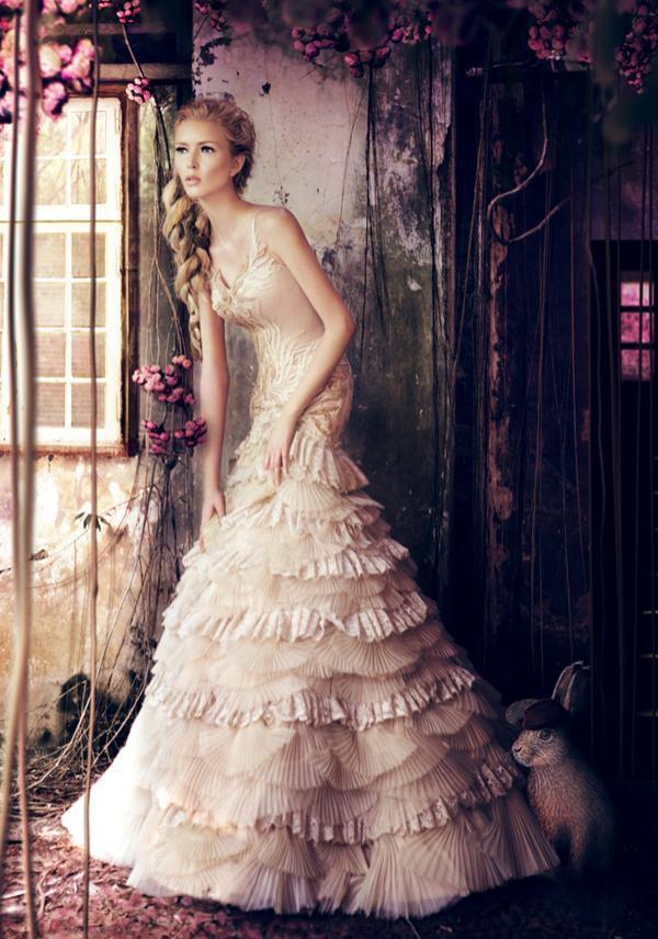 whimsical wonderlan wedding dress bunny