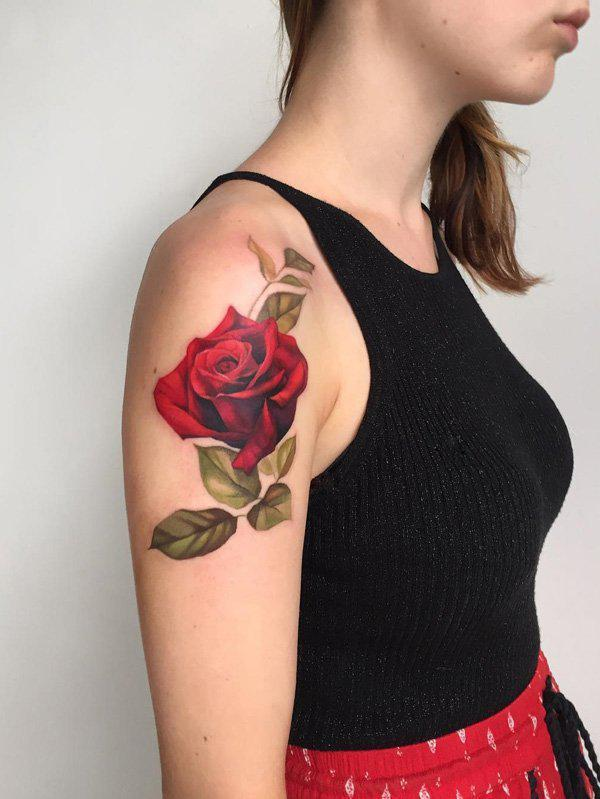 Red Rose Tattoo Shoulder
