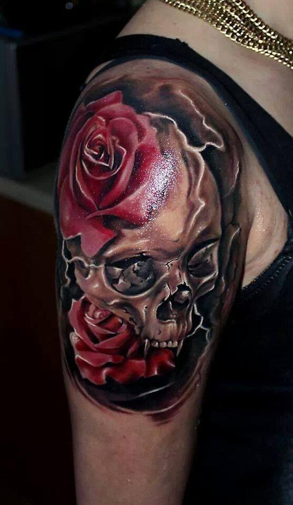 Gangster Rose Hand Tattoos For Men