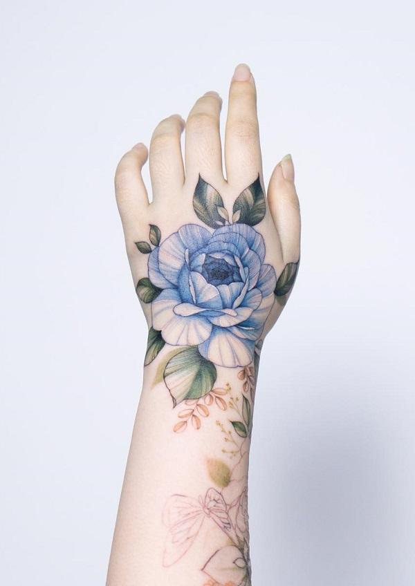 Cute Rose Hand Tattoos