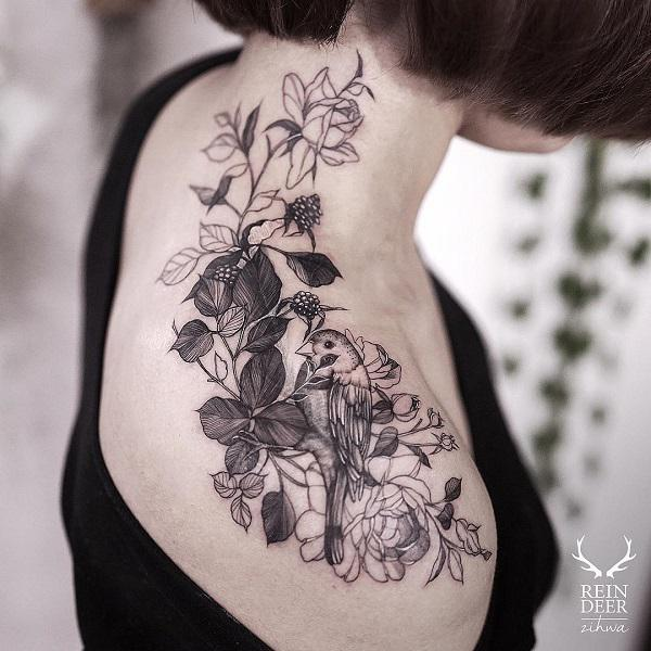 Womens Upper Back Shoulder Tattoo