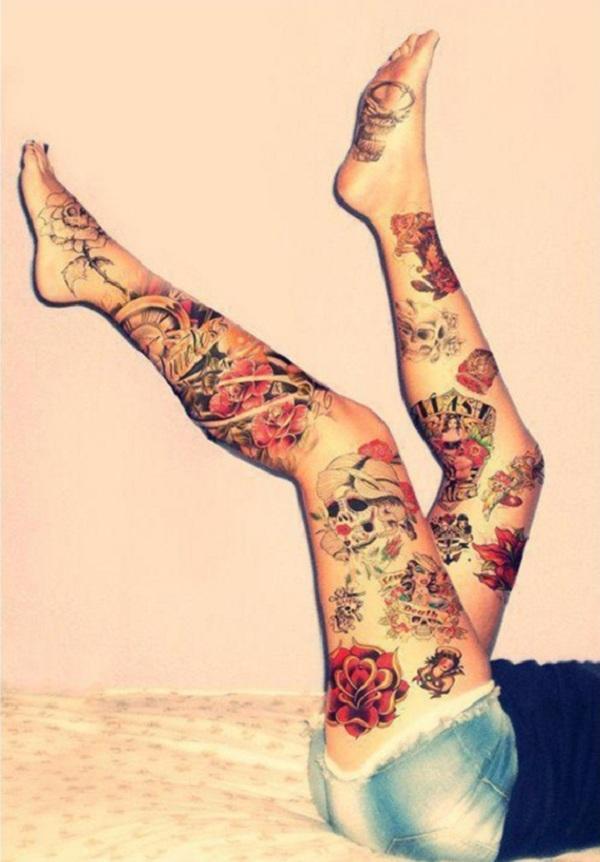 Girly Lower Leg Tattoo Designs