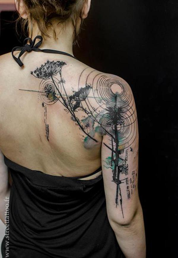 Watercolor Back Tattoos For Women