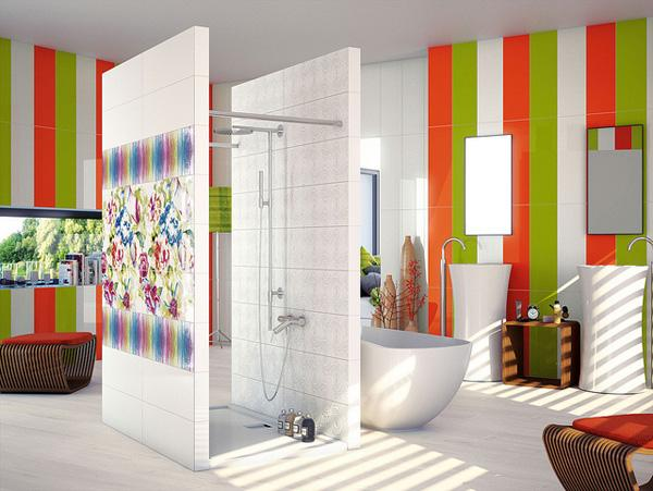 A shower breaking the space, warm colours, modern shapes.