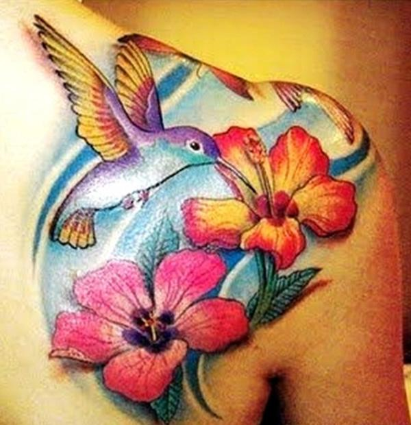 Hummingbird Tattoos With Flowers