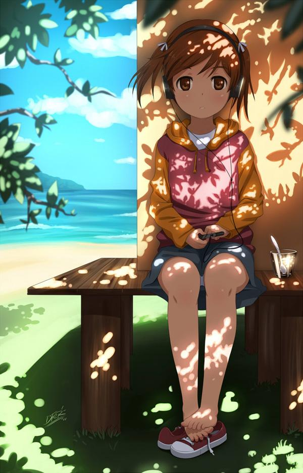 Mei at the beach - 50 Examples of Anime Digital Art <3 !