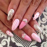 Pink Bow Nail Design