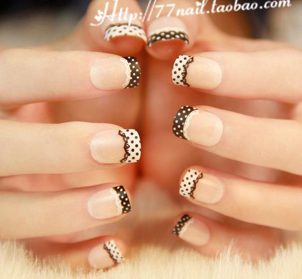 Check Out This Lace Themed French Tip Looking Very Cute And Artsy The Nails
