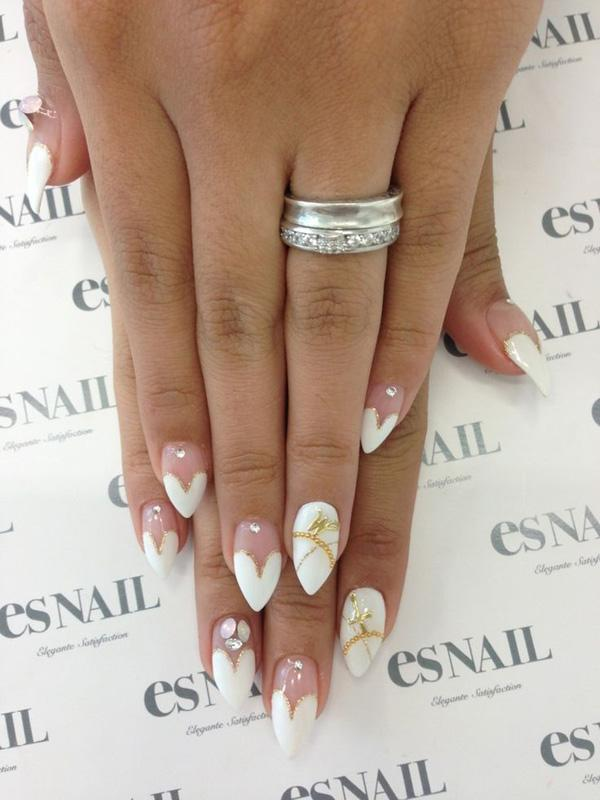 Purity Inspired Nail Art With White Heart Shapes On The Tips Simple Yet Elegant