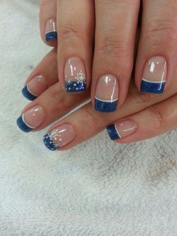 Sensational Looking Snowflake Inspired French Manicure The Nails Are Coated With Clear Polish As Base