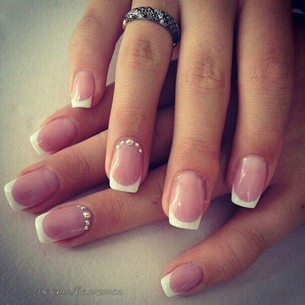 Beautiful Silver Bead Studded French Tip Nails The Start Off With Natural Clear