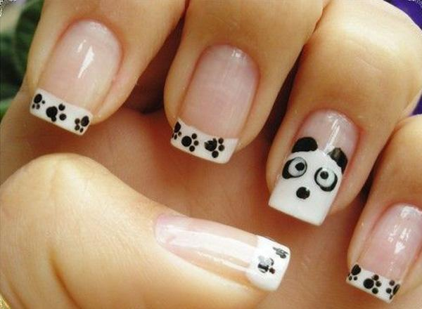 Cute Panda Inspired French Manicure Use Clear Nail Polish As The Base Of