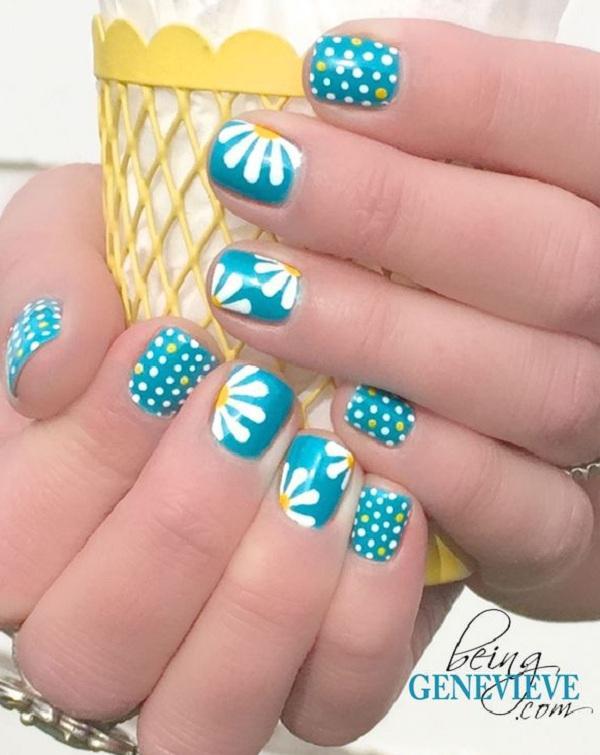 Fun With Nail Art Blue Polka Dot Toes