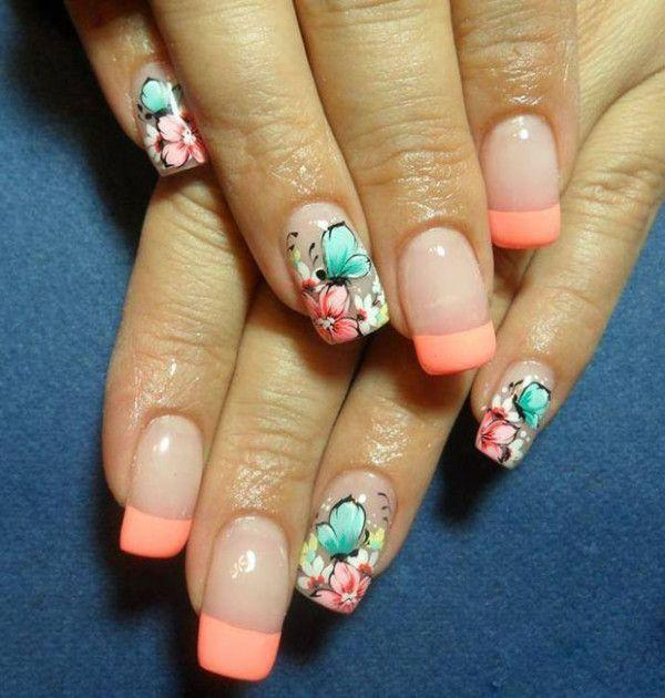 A Cute Erfly Inspired French Tip Design Play Along With Melon And Aquamarine Colors As