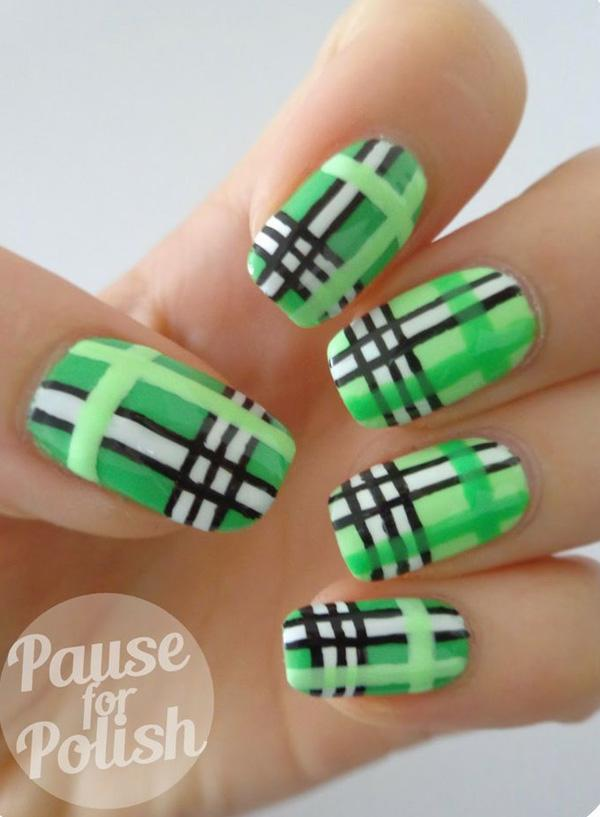 Green Plaid Nails With Black And White Stripes
