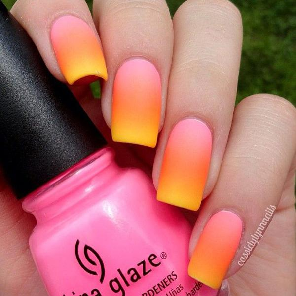 Check Out This Almost Matte Effect Grant Nail Art In Pink Orange And Yellow Bo
