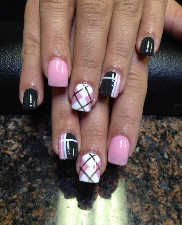Baby Pink White And Black Nail Polish Bination Arranged To Form A Plaid
