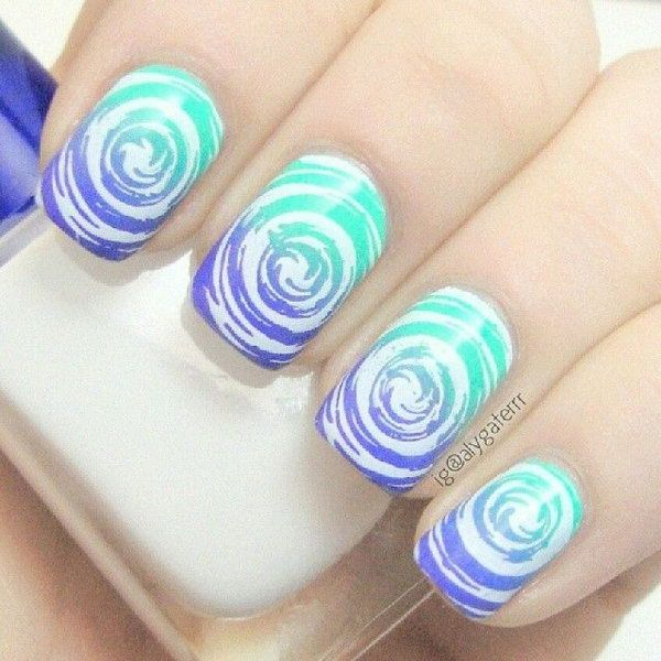 This Water Marble Nail Art Design Is Very Creative In Making White Swirling Patterns On Top