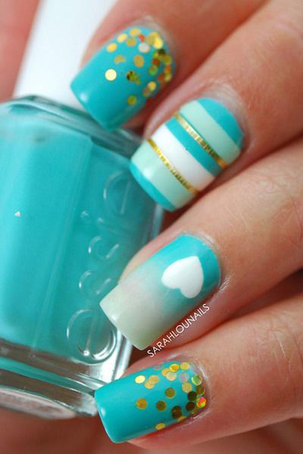 Light Blue Nails With Silver Glitter Accent Nail Art