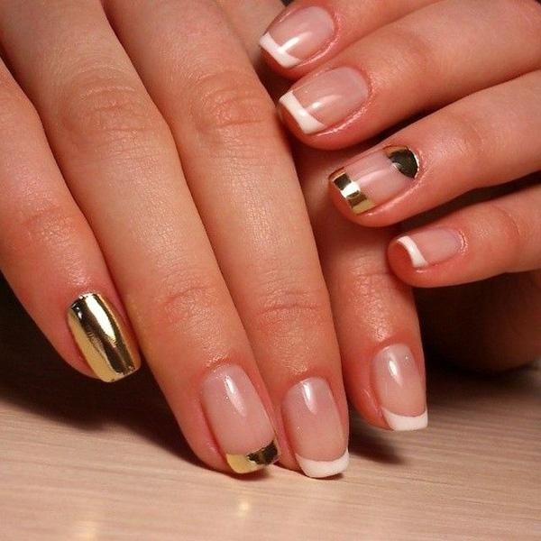 Glamorous Looking French Tips In Clear White And Metallic Polish