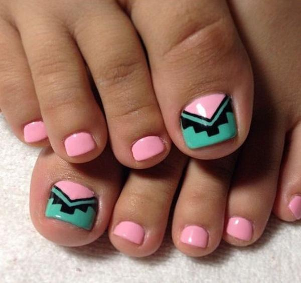 Pink Green And Black Tribal Inspired Toenail Art Design This Is Very Simple