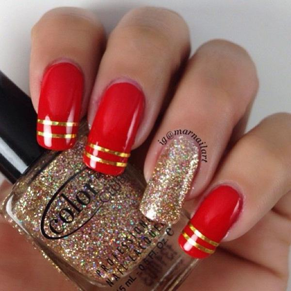 A Red And Gold Inspired Nail Art Design Using Matte Polish Sparkles