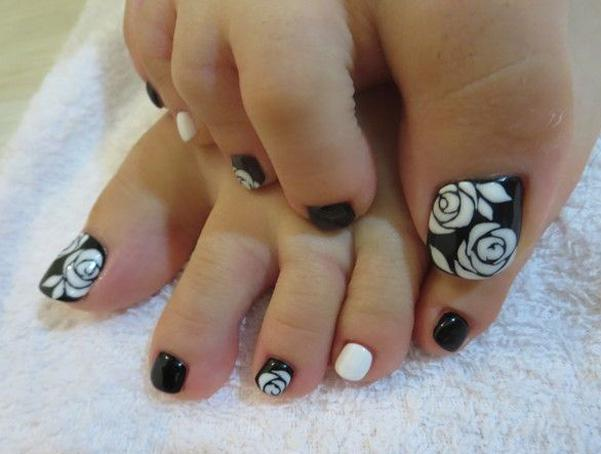 A Black And White Themed Rose Toenail Art Start Out With Matte Base
