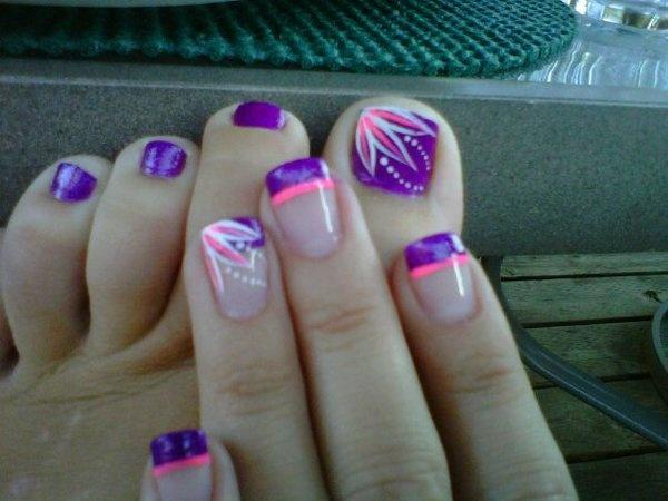 Violet Pink And White Themed French Tip Nails Toenail Art Design