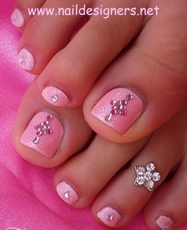 An Elegant Looking Pink Themed Toenail Art Design Use A Frosted Polish As Base